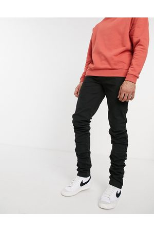 ASOS Skinny chinos with stacked hem in black