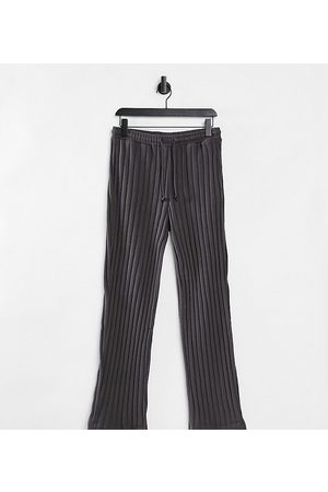 COLLUSION Unisex wide leg joggers in jersey knit in charcoal co-ord-Grey