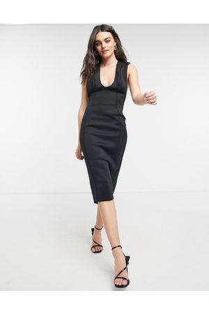 ASOS Shoulder pad plunge seamed pencil midi dress in black
