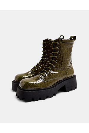 Topshop Lace up square toe chunky boots in khaki-Green