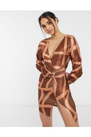 ASOS Long sleeve slouchy shirt satin mini dress in grid print