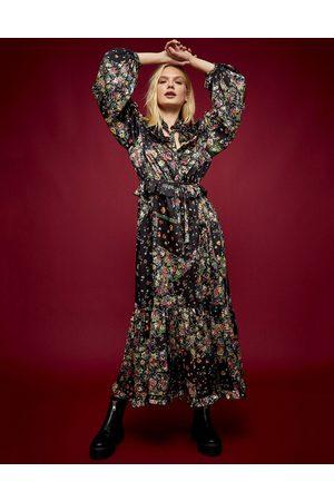 Topshop Idol ruffle patchwork print midi dress in multi