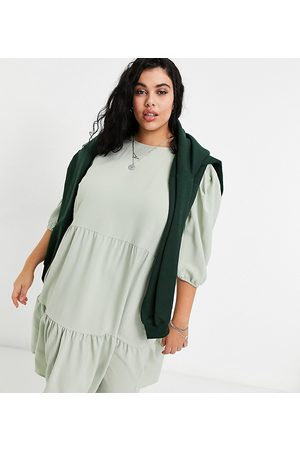 ONLY Midi smock dress with tiering in sage green