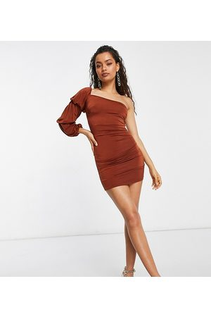 ASOS ASOS DESIGN Petite soft touch one shoulder triple sleeve mini dress in rust-Brown