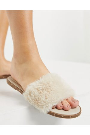 Pimkie Fur sandal slider in -Neutral