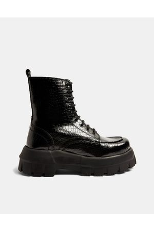 Topshop Verity Black Chunky Lace Up Boot
