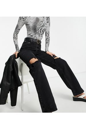 ASOS ASOS DESIGN Tall high rise 'relaxed' dad jeans in washed black with rips