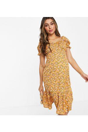 Influence Damen Bedruckte Kleider - Midi dress in yellow floral print