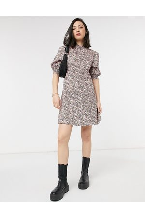 Vila High neck tea dress with puff sleeve in floral-Multi
