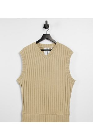 COLLUSION Tops - Unisex oversized vest in jersey knit in tan co-ord-Brown