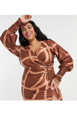 ASOS ASOS DESIGN Curve long sleeve slouchy shirt mini dress in grid print-Multi