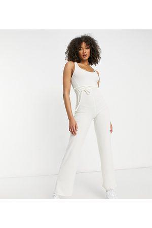 AsYou Lounge tie waist detail jumpsuit in cream-White
