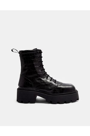 Topshop Square toe leather chunky lace up crocodile boots in black