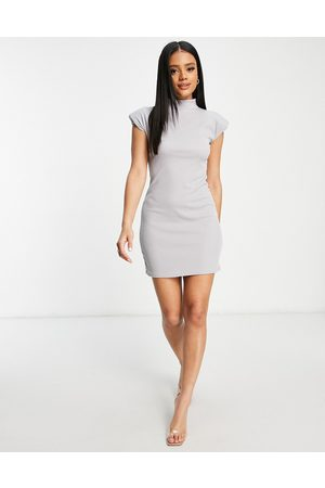 I saw it first Ribbed high neck bodycon dress with shoulder pads in grey
