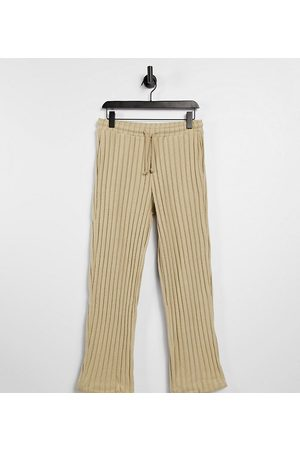 COLLUSION Unisex wide leg joggers in jersey knit in tan co-ord