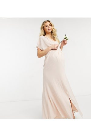 ASOS ASOS DESIGN Maternity Bridesmaid short sleeved cowl front maxi dress with button back detail-Pink