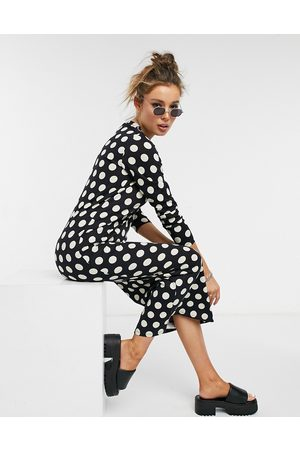 ASOS Long sleeve t-shirt dress in black and white spot print