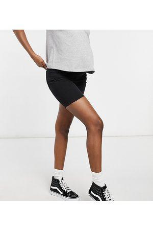 Cotton:On Maternity Overbump stretch denim bermuda short in black