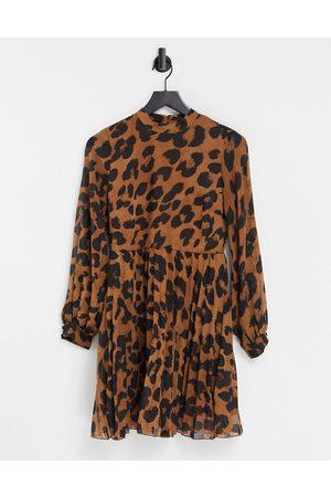 ASOS High neck pleated long sleeve skater mini dress in animal print-Multi