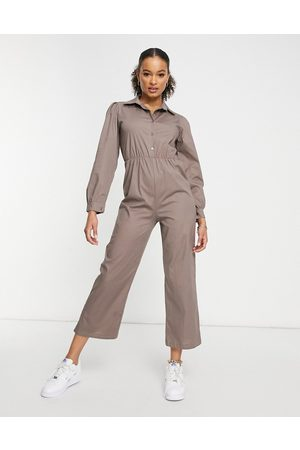 I saw it first Puff sleeve wide leg jumpsuit in grey