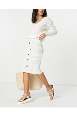 I saw it first Knitted top and button midi skirt co ord in cream