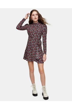 Topshop Floral print wrap mini dress in multi