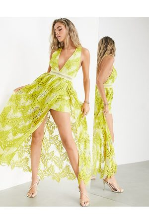 ASOS Cutwork embroidered palm dress with maxi overlay-Yellow