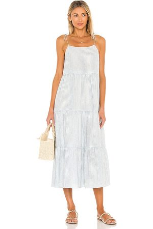 Saylor Posey Midi Dress in - Blue,Ivory. Size L (also in S, XS, M).