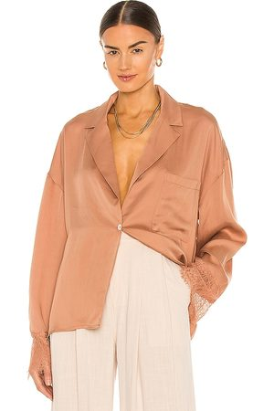 L'Academie Ricky Blouse in - Beige. Size L (also in XXS, XS, S, M, XL).