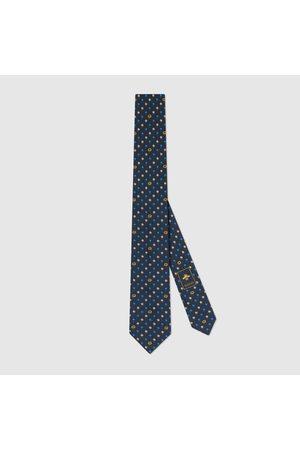 Gucci Herren Krawatten - Krawatte aus Seide mit GG und Blumen