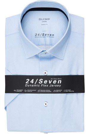 Olymp Herren Business - Halbarm-Hemd Luxor 24/7 Modern Fit blau