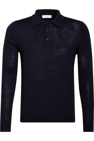 Reiss Strick-Poloshirt Trafford blau