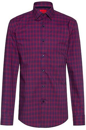 HUGO BOSS Herren Freizeit - Easy-iron slim-fit shirt in checked cotton poplin