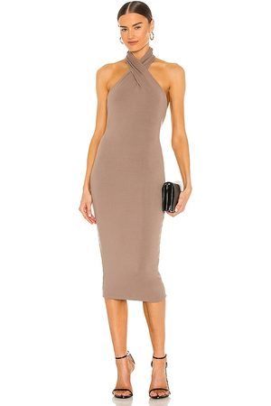 NBD Anju Midi Dress in - Taupe. Size L (also in XXS, XS, S, M, XL).