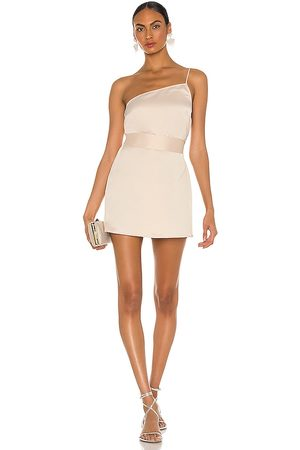 Marissa Webb Quinn One Shoulder Satin Crepe Shift Dress in - . Size L (also in S, XS, M).