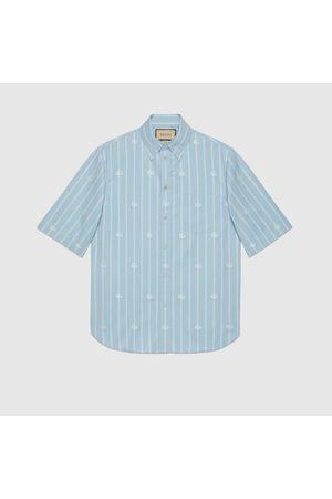Gucci Herren Freizeit - Kastenförmiges Hemd aus Baumwolle mit GG Streifen-Motiv