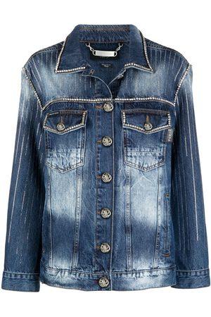 Philipp Plein Damen Jeansjacken - Crystal-embellished denim jacket