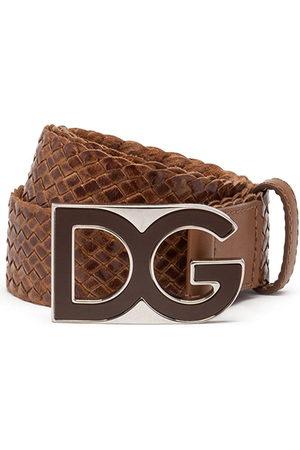 Dolce & Gabbana Herren Gürtel - Woven logo-plaque belt