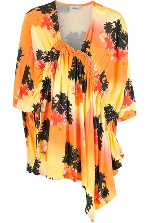 AMIR SLAMA Damen Asymmetrische Kleider - Palm tree-print asymmetric dress