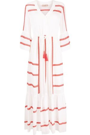 Twin-Set Two-tone embroidered maxi dress