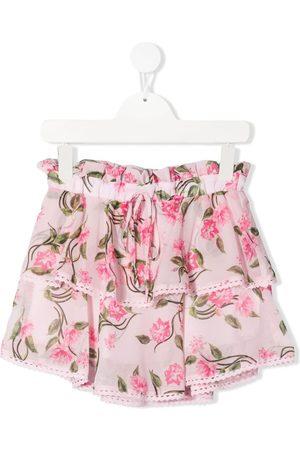Alberta Ferretti Floral-print tiered mini skirt