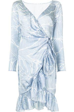 Marchesa Notte Leaf pattern wrap dress
