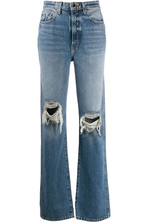 Khaite Ripped high-rise straight jeans