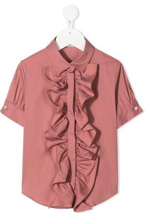Brunello Cucinelli Mädchen Kurze Ärmel - Ruffle short-sleeve shirt