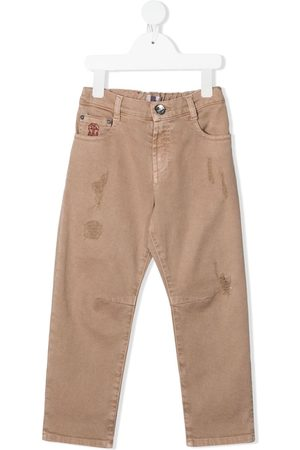 Brunello Cucinelli Distressed high-waisted jeans
