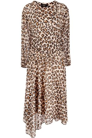 Liu Jo Damen Asymmetrische Kleider - Leopard print asymmetric dress