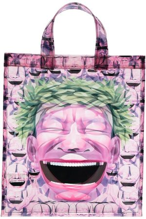 Comme des Garçons Herren Shopper - Graphic-print transparent tote bag