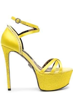 Philipp Plein Damen Sandalen - Embellished satin platform sandals