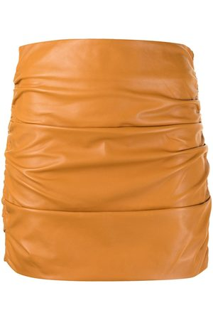 Michelle Mason Damen Bleistiftröcke - Ruched leather mini skirt
