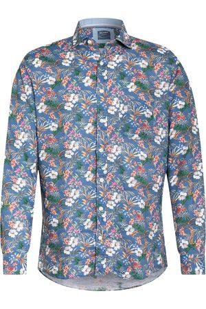 Olymp Herren Freizeit - Leinenhemd Casual Modern Fit blau